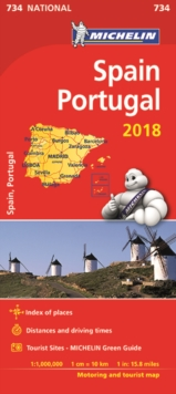 Spain & Portugal 2018 National Map 734, Sheet map, folded Book