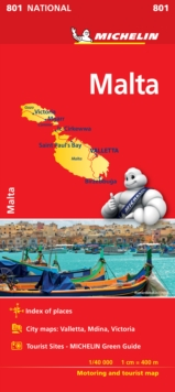 Malta - Michelin National Map 801, Sheet map, folded Book