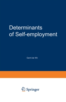 Determinants of Self-employment, PDF eBook