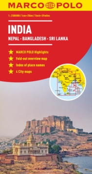 India, Nepal, Bhutan, Bangladesh, Sri Lanka Marco Polo Map, Sheet map, folded Book